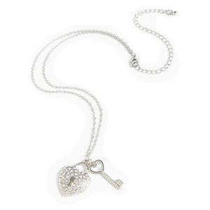 Jewelry - Lock and Key Faux Diamond Necklace